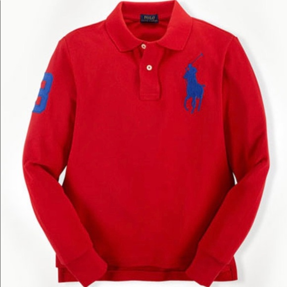 0c43548c POLO RALPH LAUREN Long Sleeves Big Pony Red 3LT NWT